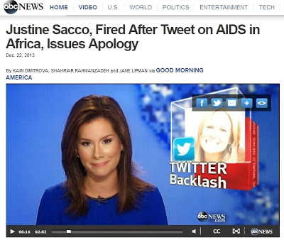 http://abcnews.go.com/International/justine-sacco-fired-tweet-aids-africa-issues-apology/story?id=21301833